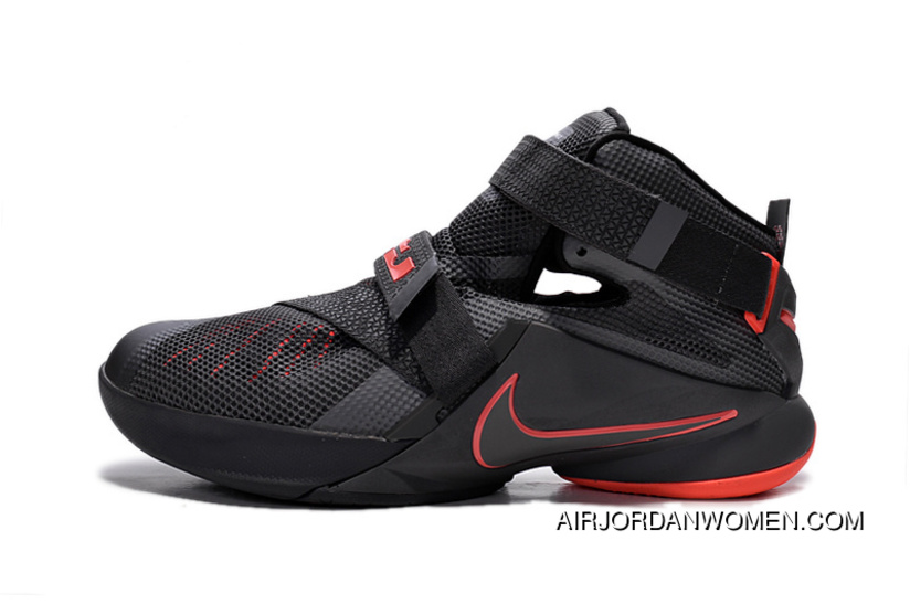 9e4ec550dc64 Online Nike LeBron Soldier 9 Black And Red Highlights Basketball Shoe